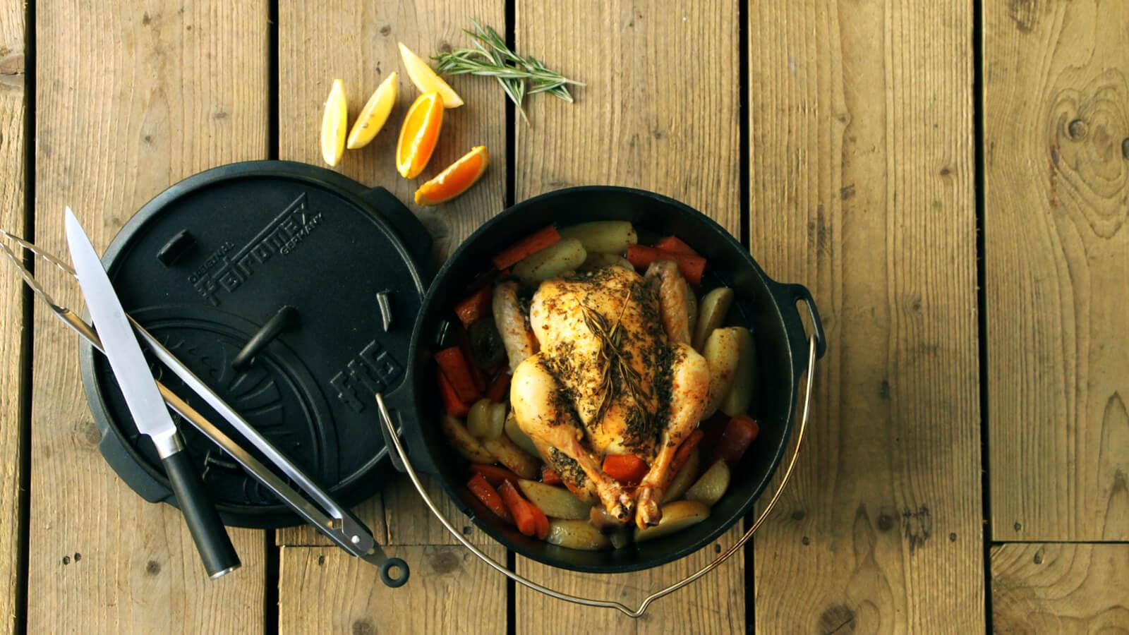 Een hele kip van de BBQ? Probeer het eens met een Dutch Oven.