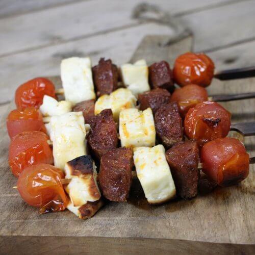 Barbecue Recept: Chorizo Haloumi Spiesjes