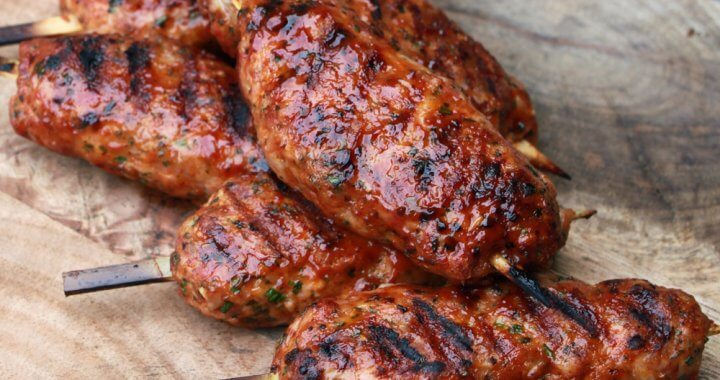 Bacon Bourbon Chicken Kebabs
